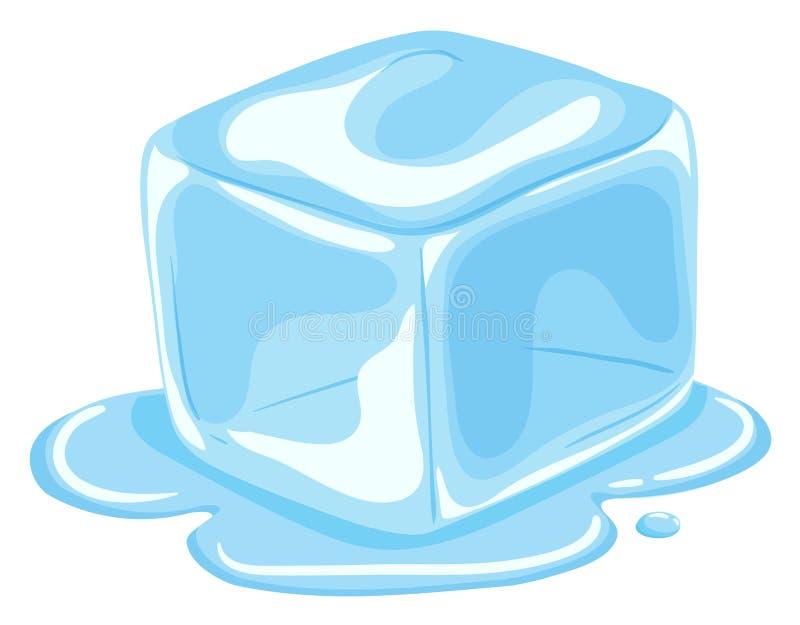 Piece of ice cube melting stock illustration