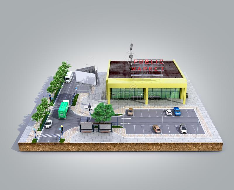 Piece of land Supermarket with parking on the ground 3d render on grey gradient royalty free illustration