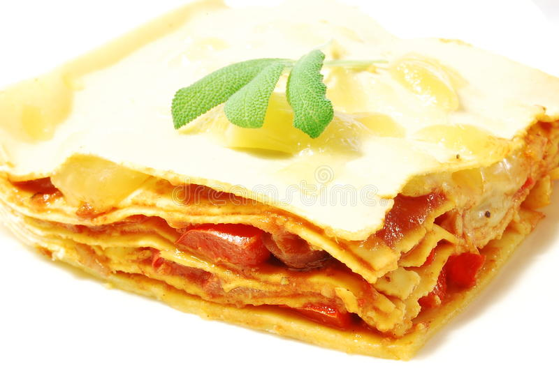 Piece of lasagne stock photo