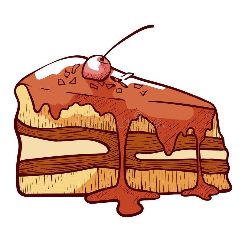 Piece of layer cake, gateau with buttercream coated by icing. Glazed dessert, pastry garnished by cherry. Fruit sweet flour product. Vector hand drawn sketch royalty free illustration