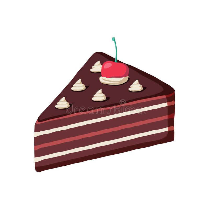 Piece of layered chocolate cake with maraschino cherry. Hand drawn style cake slice isolated illustration. Bakery frosted food with glaze. Sweet dessert tasty stock illustration