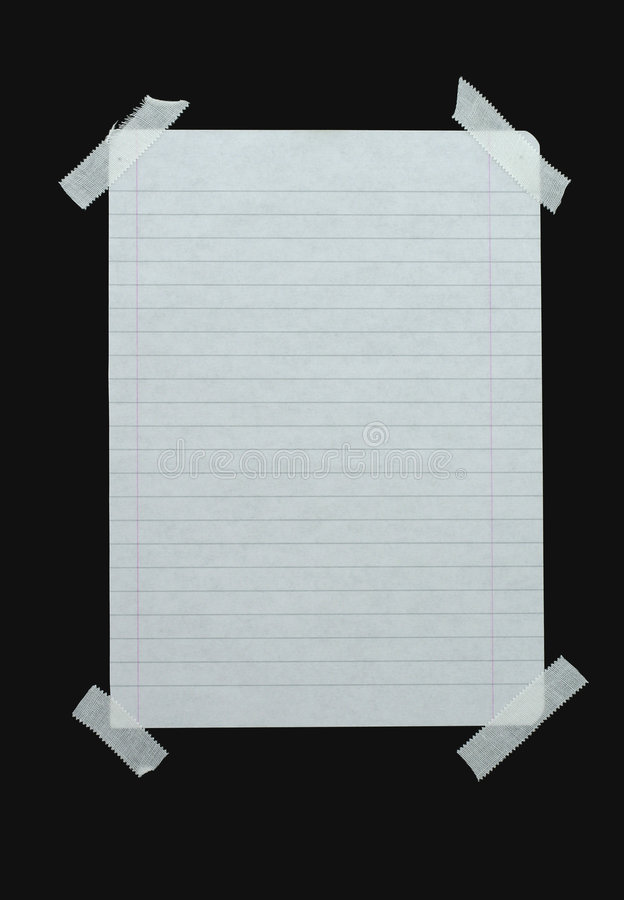 Piece of lined paper stock photo