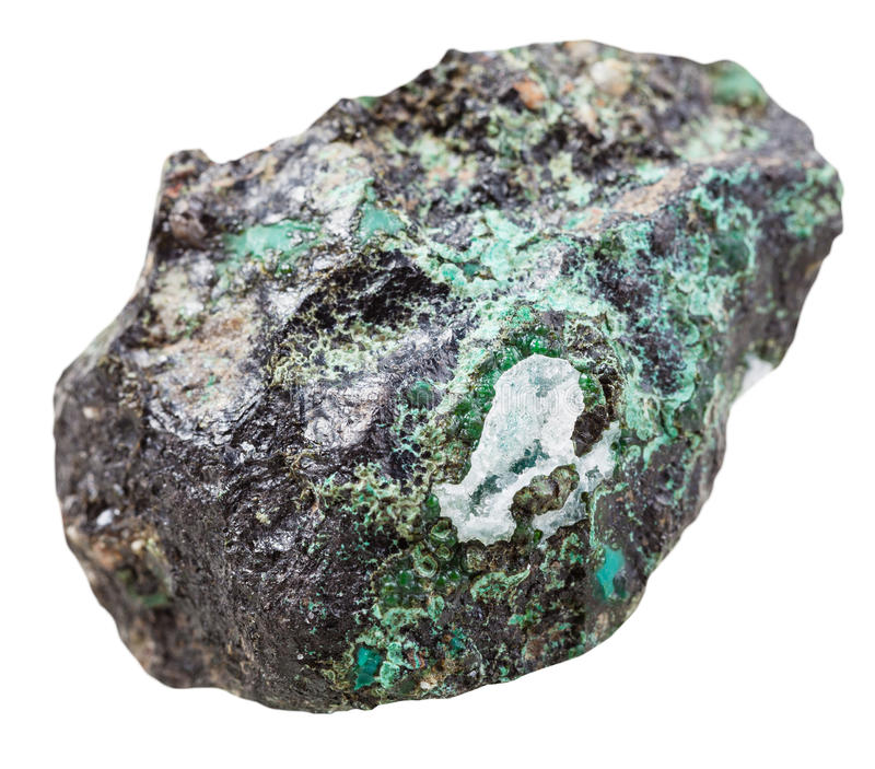 Piece of Malachite mineral stone isolated. Macro shooting of collection natural rock - piece of Malachite mineral stone isolated on white background stock image
