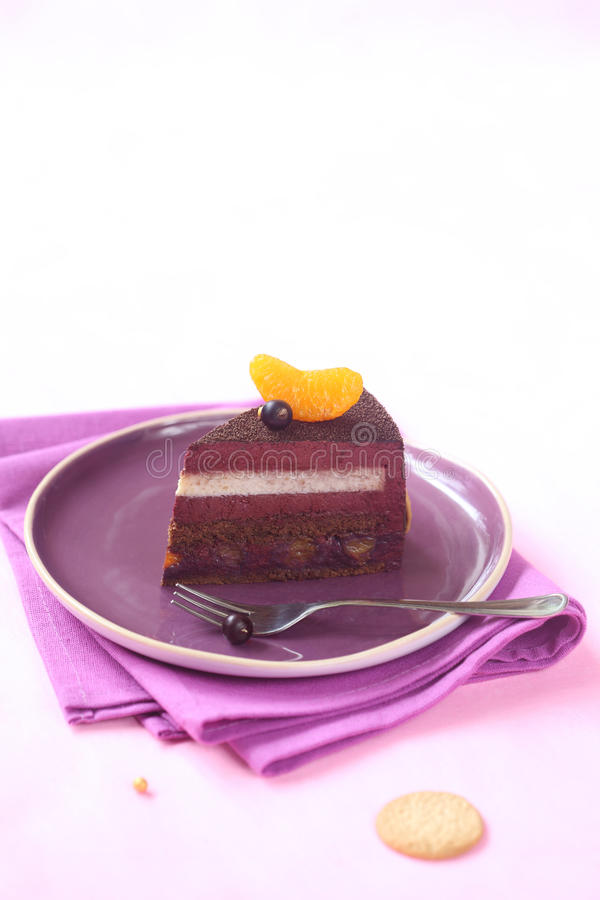 Piece of Milk Chocolate, Black Currant and Spiced Tangerine Entremet Cake stock photography