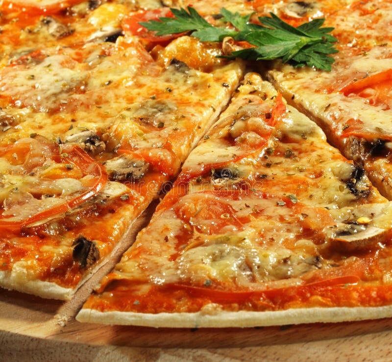 Piece of Mushroom Pizza royalty free stock photography