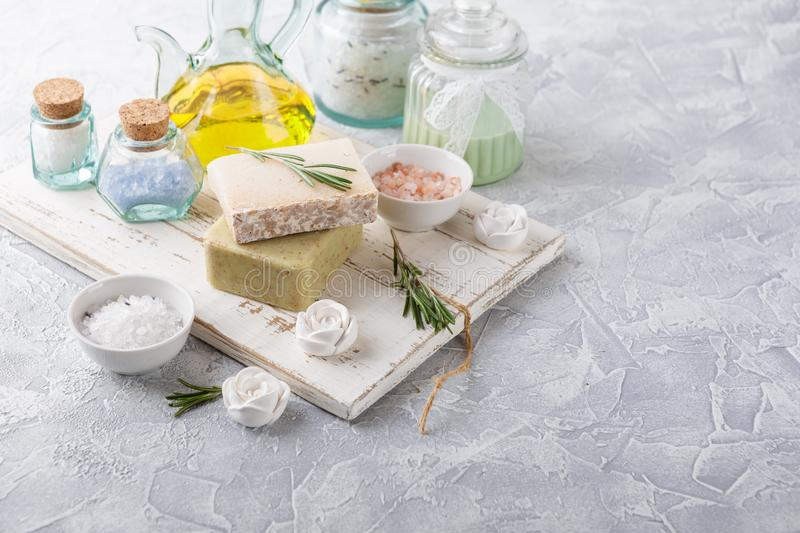 Piece of natural soap with rosemary. stock photo