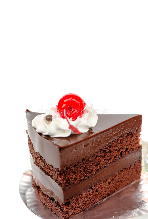 Free Piece Of Chocolate Cake And Cherry Royalty Free Stock Photography - 61892727