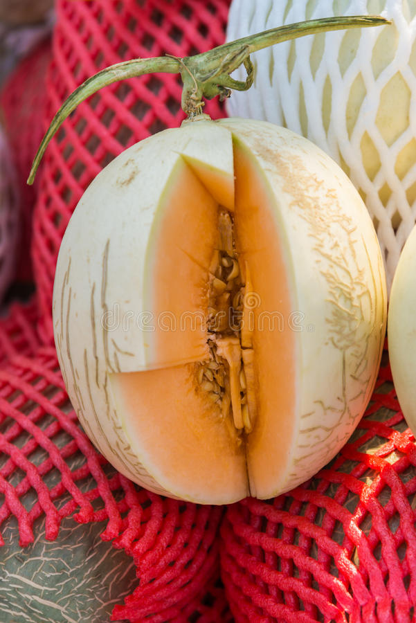 Piece of orange cantaloupe cutted for test taste. 1 royalty free stock photos