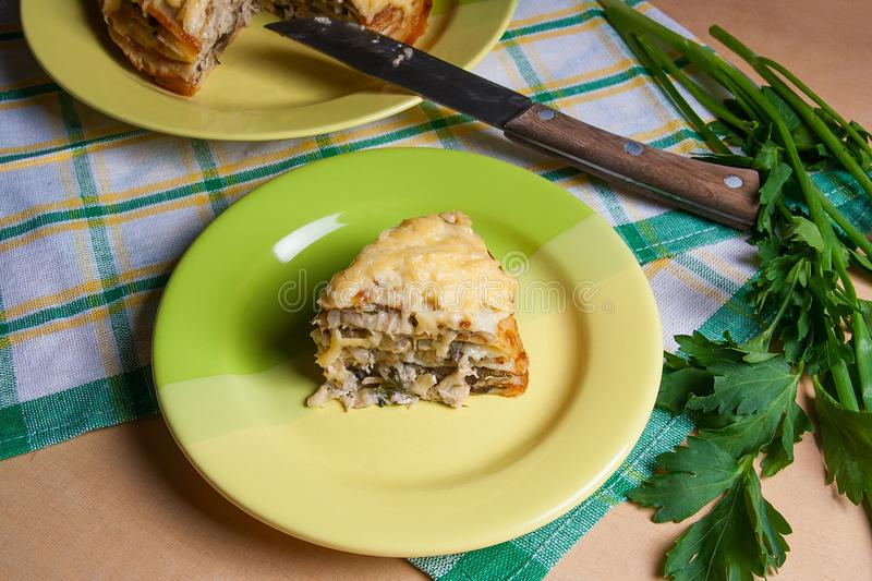 Download Piece Of Pancakes Pie With Mushrooms And Chicken Meat On Green P Stock Photo - & Piece Of Pancakes Pie With Mushrooms And Chicken Meat On Green P ...