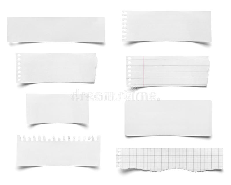 Piece of paper note notepad. Collection of various pieces of note paper on white background. each one is shot separately royalty free stock photo
