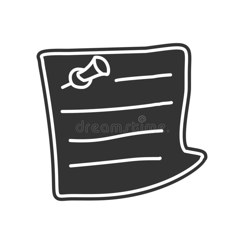 Piece of paper with a pin sketch icon. Element of Education for mobile concept and web apps icon. Glyph, flat icon for website. Design and development, app stock illustration