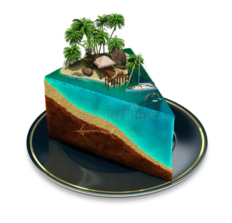Piece of paradise. Piece of cake on a plate with a tropical island top. 3d image. White background vector illustration