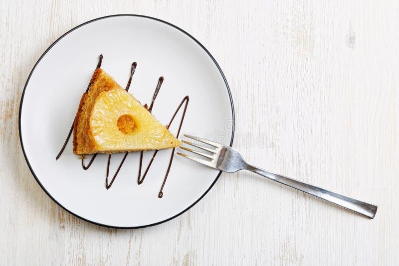 Piece of pineapple Upside Down Cake stock image