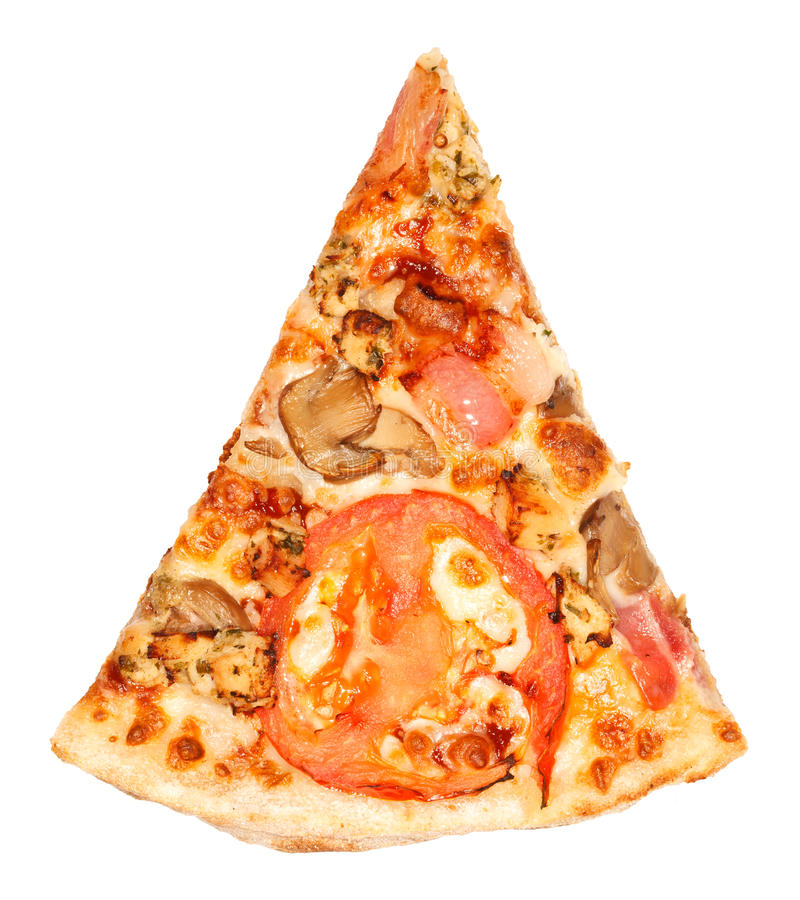 Piece of Pizza. One single piece of pizza with tomato, mushrooms, bacon and cheese royalty free stock photo
