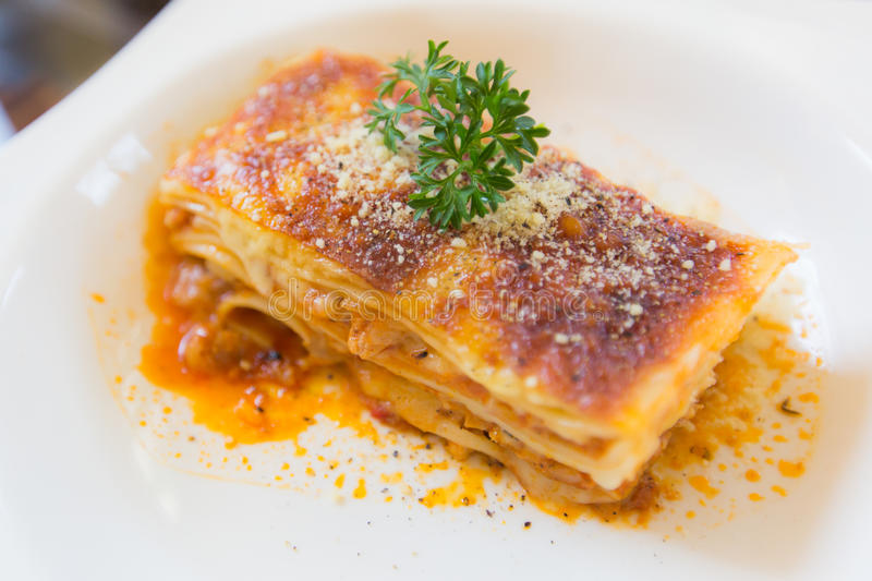 A Piece of pork and tuna Lasagna with parsley, close up royalty free stock photos