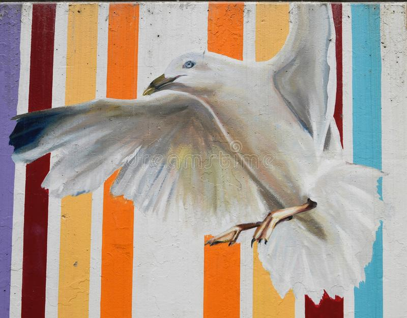 A Gull. This is a piece of a public art mural titled: You Know What You Should Do, on display at the Oak Street Beach underpass located in Chicago, Illinois in vector illustration