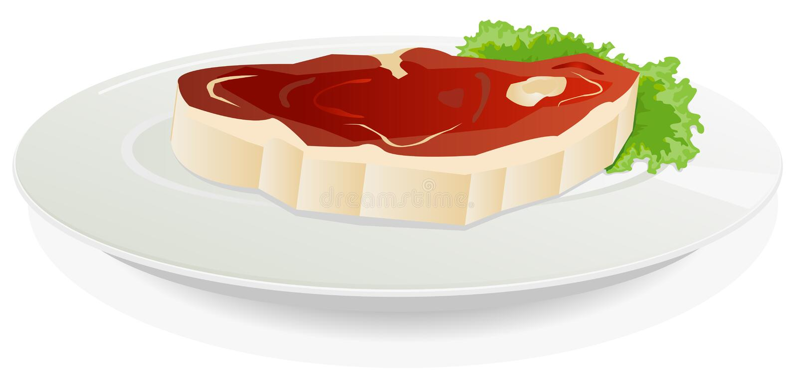 Download Piece Of Raw Meat On A Dish With Salad Stock Vector - Image: 25278343