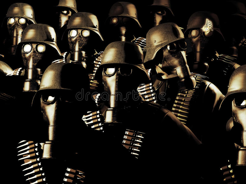 A piece of sensibility. Troop of German soldiers of Second World War, with gas masks, all of them aligned and looking in front of them, except the one who is stock illustration