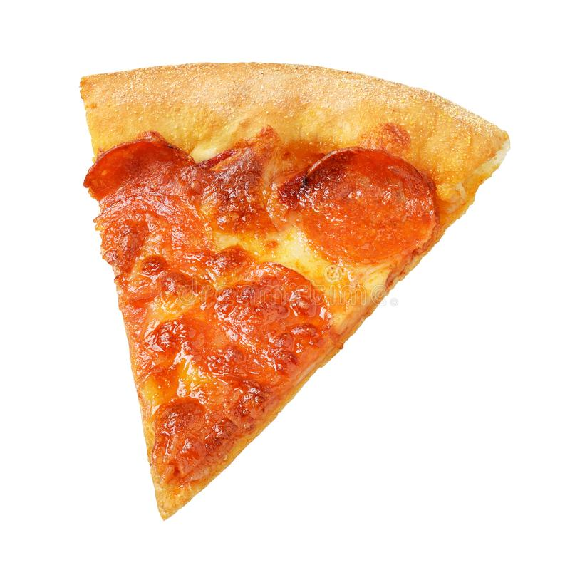 Piece or slice of pepperoni pizza isolated on white royalty free stock photo