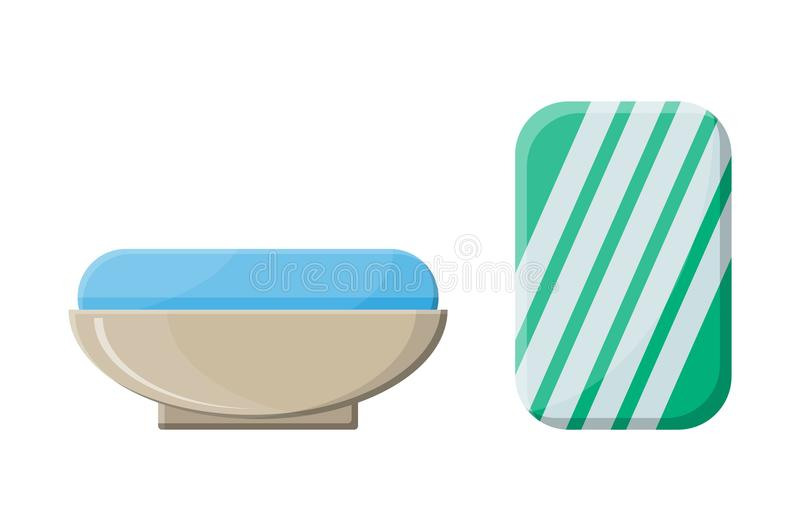 Piece of soap in the soap dish vector illustration