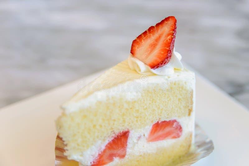 Piece of strawberry cake. Dessert royalty free stock photo