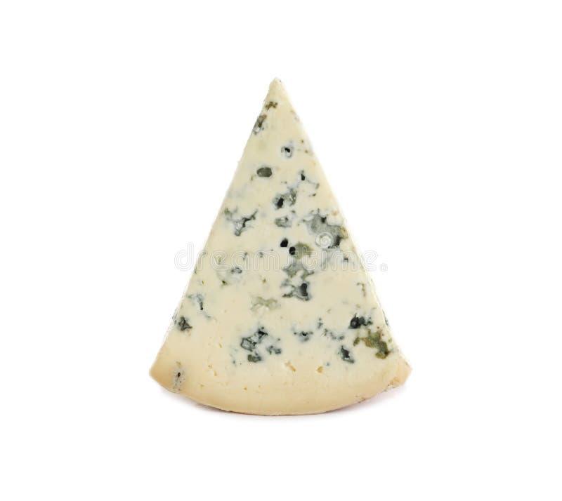 Piece of tasty blue cheese on white stock photos