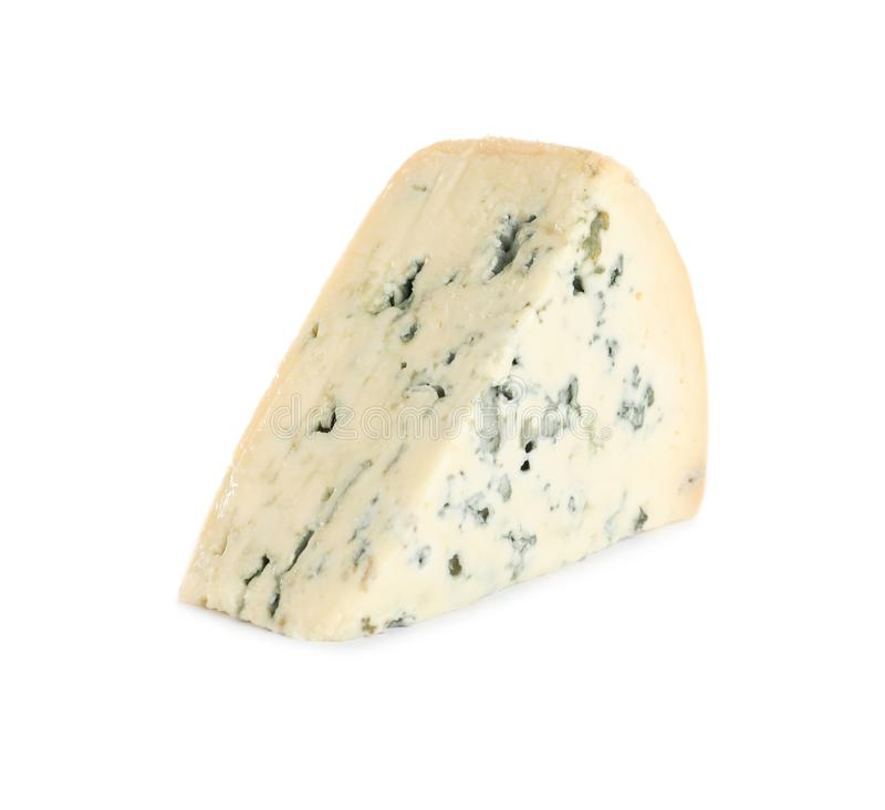 Piece of tasty blue cheese on white royalty free stock photography