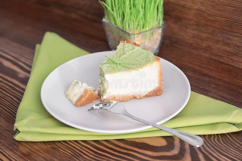 Piece of tasty cake on plate. royalty free stock photography
