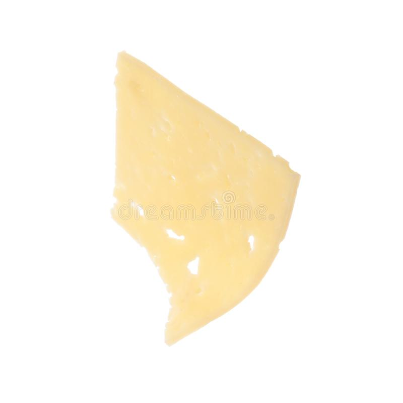 Piece of tasty cheese on white royalty free stock photo