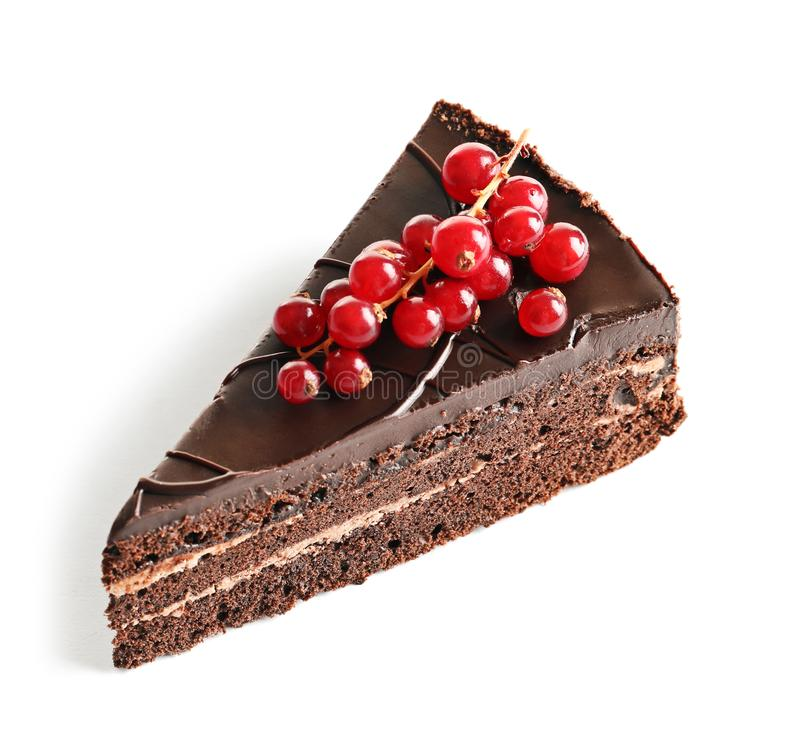 Piece of tasty homemade chocolate cake with berries stock photos