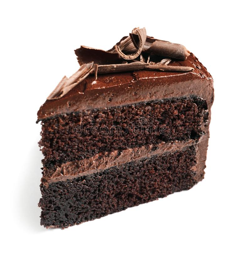 Piece of tasty homemade chocolate cake royalty free stock photo