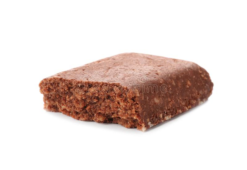 Piece of tasty protein bar stock image