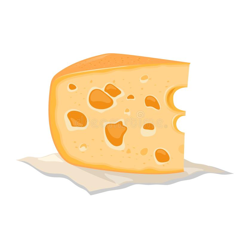 Piece of tasty yellow holed cheese made from cow, goat or sheep milk. Maasdam, emmental, swiss. stock illustration