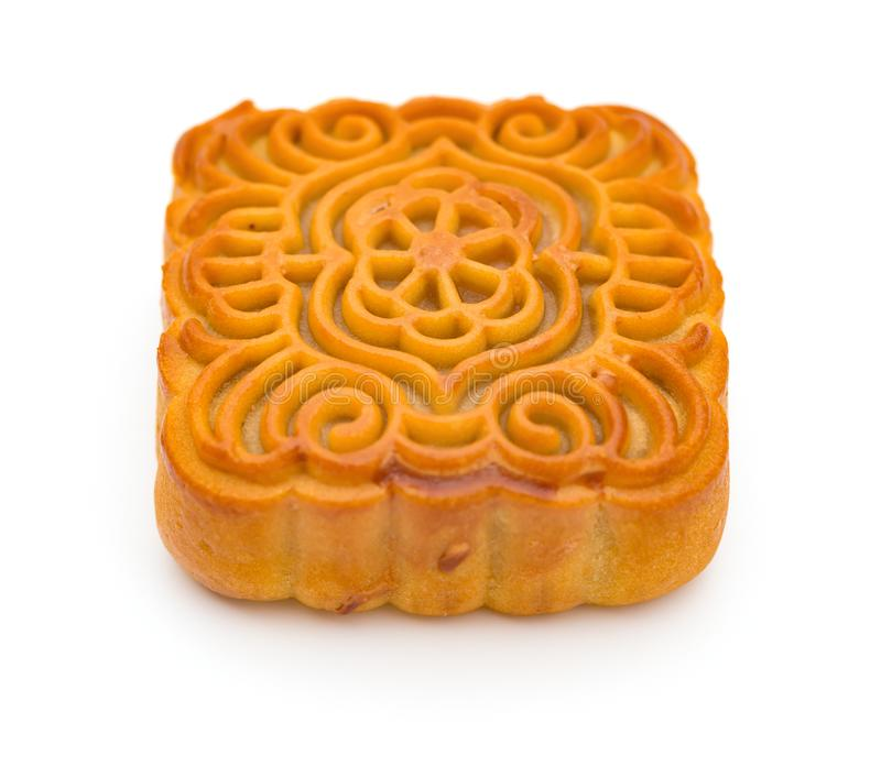 Piece of traditional Chinese mooncake on white background stock photos