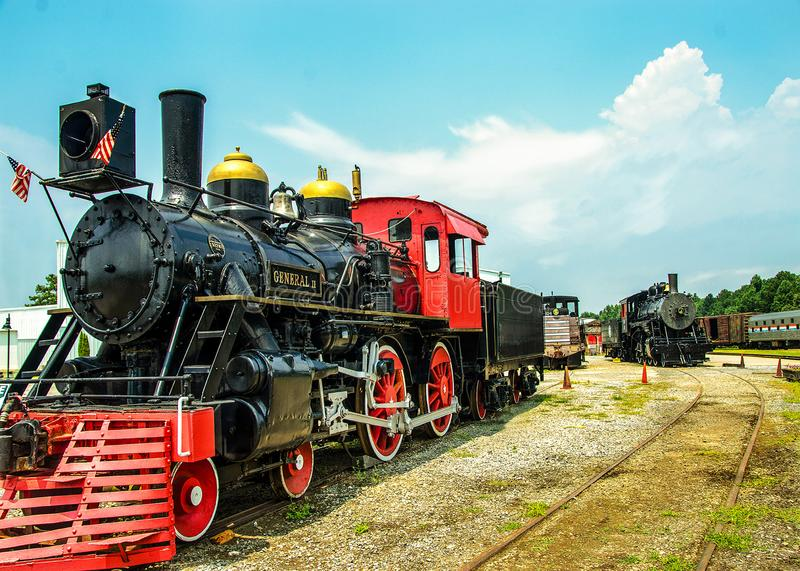 Two Trains Riding the Rails stock images