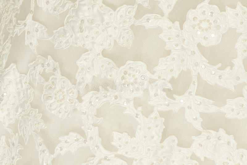 Piece wedding dress. Of cream silk fabric royalty free stock image