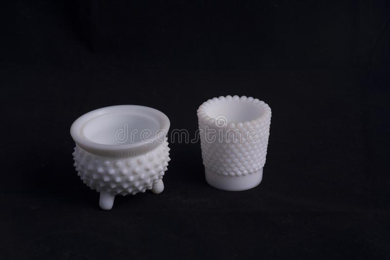 Hand blown white glass bowl stock photography