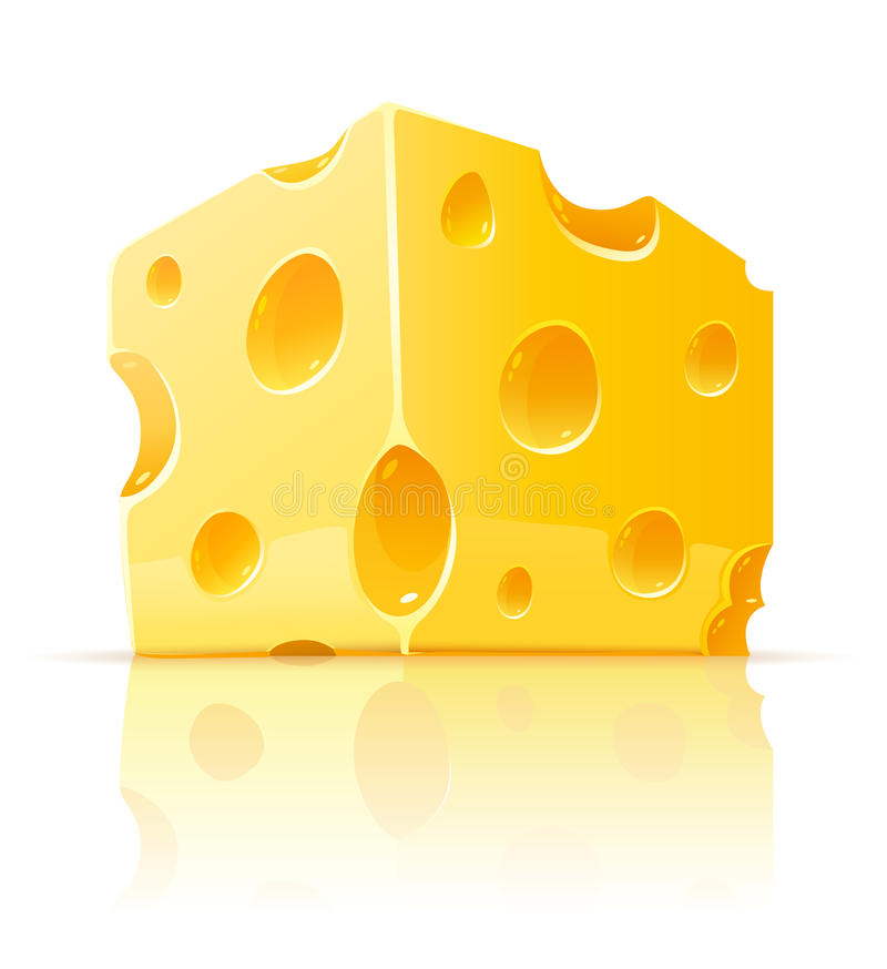 Piece of yellow porous cheese food with holes vector illustration