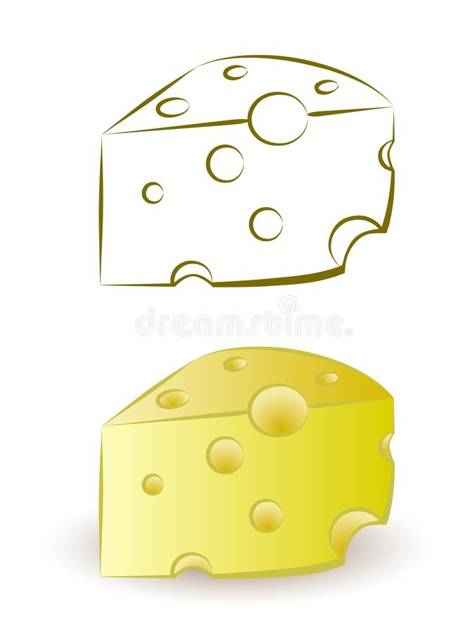 Piece of yellow porous cheese food with holes royalty free illustration