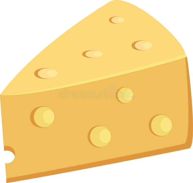 Piece Of Yellow Porous Cheese Food With Holes Vector Illustration vector illustration