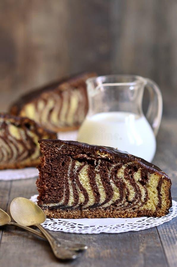 Piece of ''Zebra'' cake. stock photo
