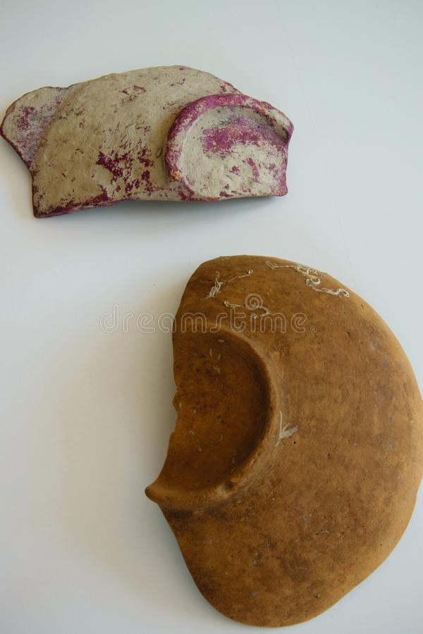 Pieces of an ancient ceramic bowls royalty free stock photo