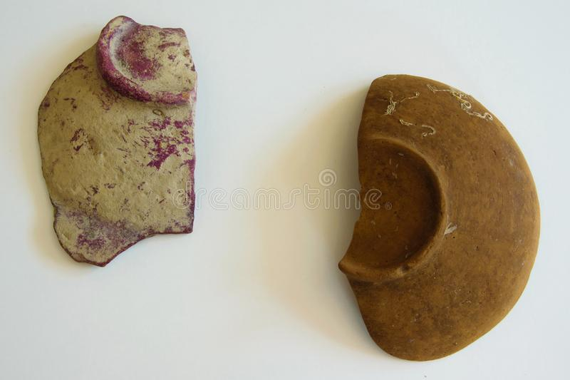 Pieces of an ancient ceramic bowls stock photos