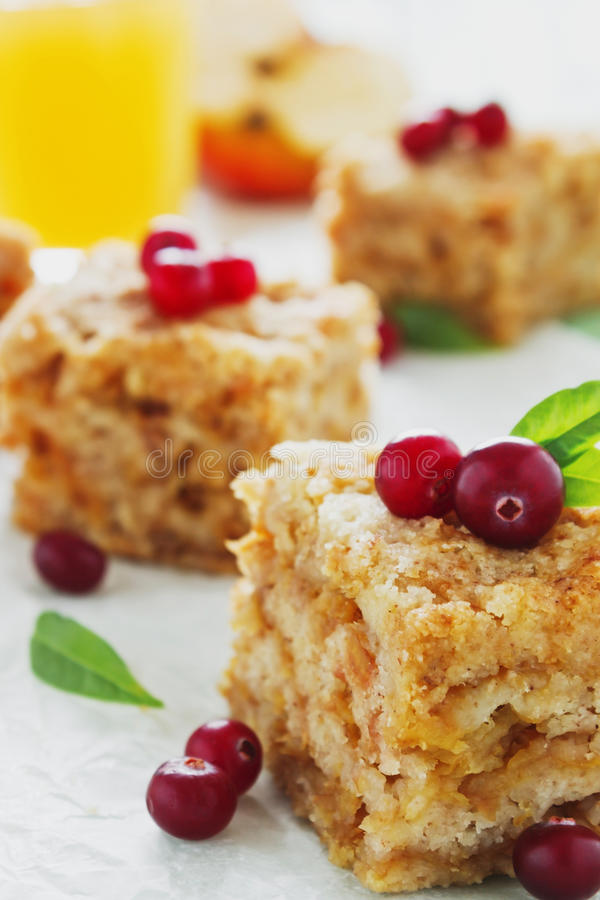 Pieces of apple pie. And fresh cranberries on parchment paper. homemade pastries. festivals and events. selective focus. close-up stock image