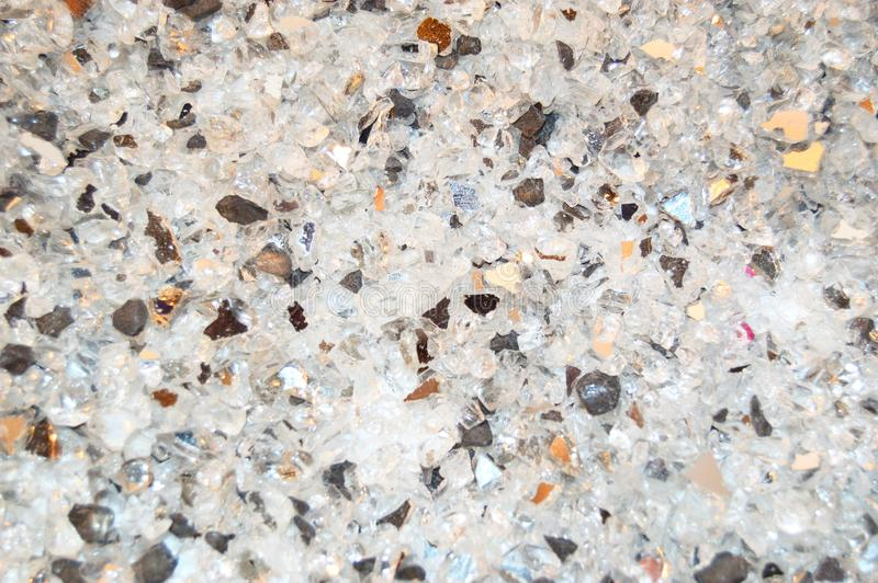 Texture of broken glass pieces, payment black and white glitter background. Holidays, Christmas, Valentine, love abstract texture stock photos