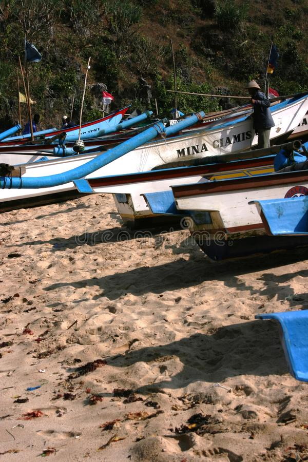Pieces of the boat. Ngrenehan beautiful beach located in wonosari, Yogyakarta, Indonesia royalty free stock photography
