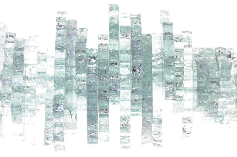 Pieces of broken glass. On white background royalty free stock image