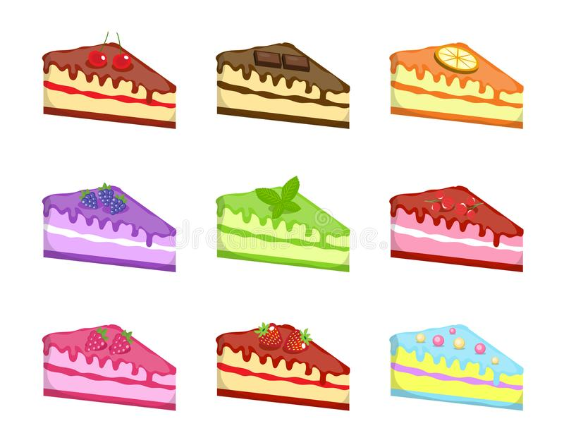 Pieces cake icons set, cartoon style. Cakes of different tastes collection design element. Cheesecake Sweets kit. Isolated on white background. Vector stock illustration