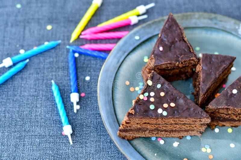 Chocolate Sacher Vienna cake stock images
