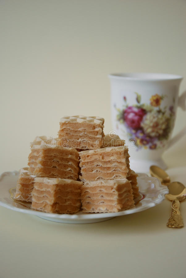 Pieces of chocolate wafer cake on plate royalty free stock images